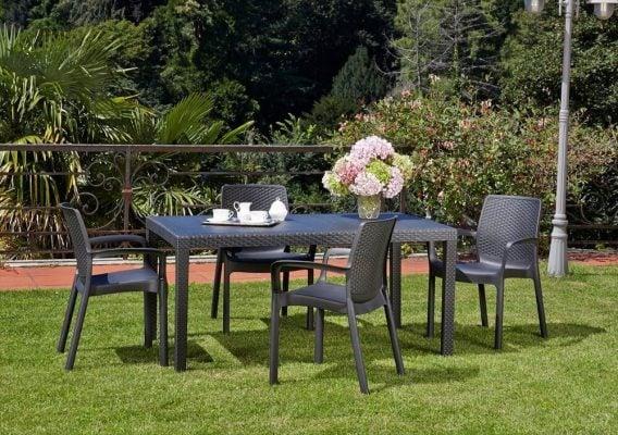 Tavolo da giardino in plastica effetto rattan Prince - IPAE-PROGARDEN
