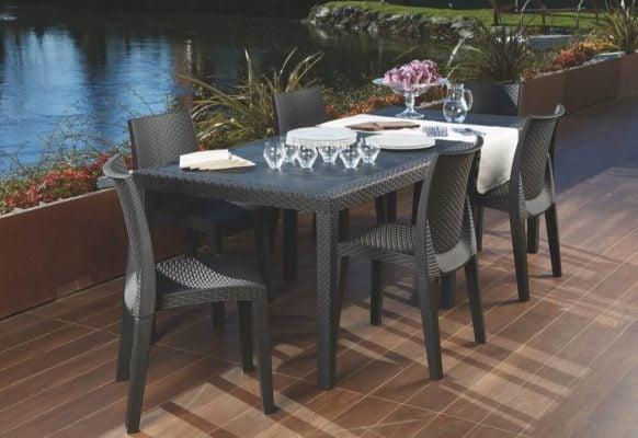 Tavolo da giardino in plastica effetto rattan Queen - IPAE-PROGARDEN