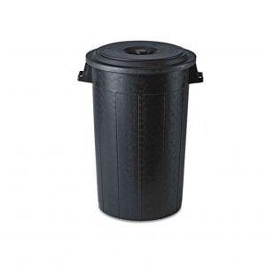 Bidone porta rifiuti in plastica da esterno nero c-coperchio Varie misure - TOMAINO