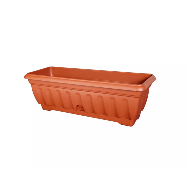 vaso rettangolare in plastica per piante e fiori color terracotta con sottovaso integrato tomaino