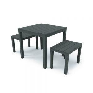 Paupa Set da giardino composto da 2 panche timor + 1 tavolo bali in plastica - IPAE PROGARDEN