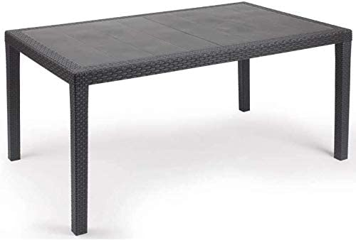 set 1 Tavolo e 6 sedie da Giardino in plastica Effetto Rattan - Tomaino
