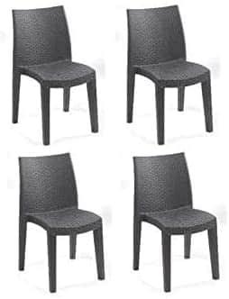 Set 4 sedie e 1 tavolo in plastica effettor rattan - Tomaino